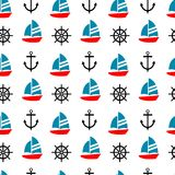 Sailboat, anchor and ship steer seamless pattern. Cute sailboat on white background Royalty Free Stock Image