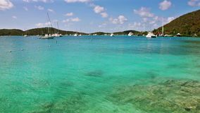 Sailboat anchorage in British Virgin Islands stock video footage
