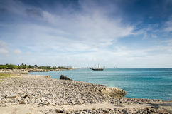 Sailboat anchored as a background in Aruba Stock Photos