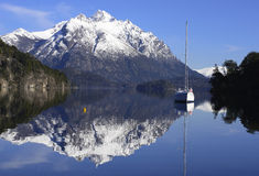 Sailboat Anchored in a Bay of Patagonia Royalty Free Stock Photography
