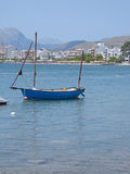 Sailboat Anchored at the Bay of Pollenca Stock Images