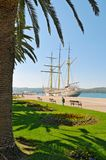 Sailboat anchored in port Royalty Free Stock Images