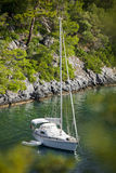 Sailboat anchored in Sarsala Bay, Gocek. Stock Images