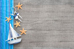 Free Sailboat And Starfishes On Wooden Shabby Chic Background Royalty Free Stock Photography - 34430927