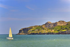 Sailboat on atlantic of ireland Stock Photo