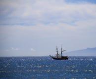 Sailboat on the atlantic ocean. Solitary sailboat at sea on Atlantic Ocean Stock Images
