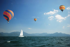 Sailboat with balloons Stock Photography