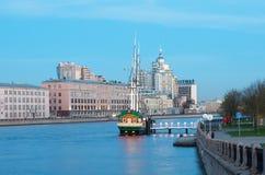 Sailboat and bar Zabava Fun on Bolshaya Nevka. St Petersburg. Russia Stock Photo