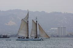 A sailboat on a bay. Medium size sailboat on San Francisco Bay Stock Image