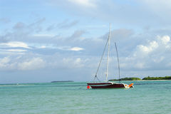 Sailboat in Bay stock images