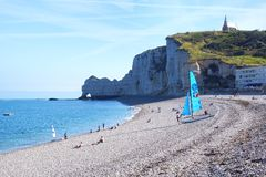 Sailboat on a bay beach Cote d'Albatre. Stock Photography