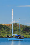 A sailboat at bay, Boqueron. In the tropical island of Puerto Rico Royalty Free Stock Photography