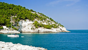 Sailboat in the bay have a rest. In south Italy royalty free stock image