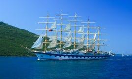 Sailboat at the bay of Kotor, Montenegro Stock Photo