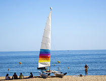 sailboat on beach Royalty Free Stock Image