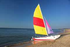 Sailboat on the beach Royalty Free Stock Image