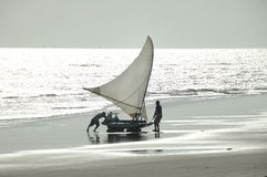 Sailboat at the beach Brazil Royalty Free Stock Image