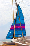Sailboat on the beach. Stock Photos