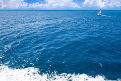 Sailboat at beautiful Caribbean sea. Royalty Free Stock Image
