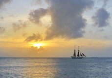 Sailboat and a beautiful sunset Stock Photos