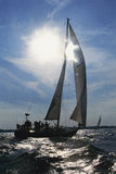Sailboat being navigated. Naval Academy Midshipmen sailing, Annapolis, Maryland Stock Photo