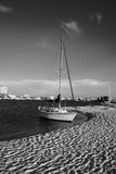 Sailboat in black and white. Sailboat at rest on Holiday Isle, Florida. High contrast black and white image Royalty Free Stock Images
