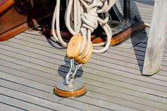 Sailboat block and rope detail horizontal Stock Photo