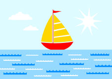 Sailboat on blue sea Stock Photo
