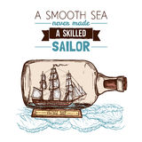 Sailboat In Bottle Color Concept Royalty Free Stock Images