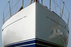 Sailboat bow. The front end of the ship in the water Stock Photos