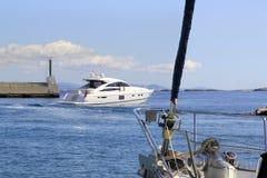Sailboat bow detail Formentera port entrance Stock Photo
