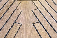 Sailboat bow, wood deck detail, Italy Stock Image