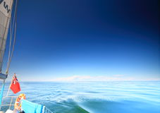 Sailboat british yacht sailing in blue sea Royalty Free Stock Images