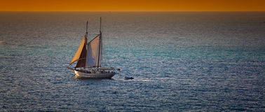 Sailboat in the Caribbean Sea Royalty Free Stock Photography