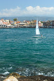 Sailboat in Chania. Sailboat with child in Chania. Crete Stock Photography