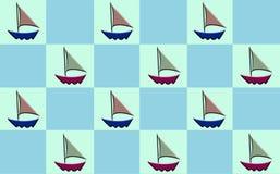 Sailboat Checker. Sailboat pattern on checker board Royalty Free Stock Image