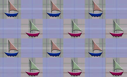 Sailboat checkered Plaid. Sailboats  arranged on checkered Plaid pattern Royalty Free Stock Photography