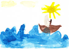 Sailboat Children's Drawing Stock Images