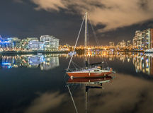 Sailboat -City night  views- BC place Vancouver Royalty Free Stock Images