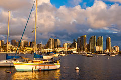 Sailboat and City Skyline Stock Photo