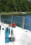 Sailboat -clear on desk. Winch and ropes on sailboat Royalty Free Stock Image