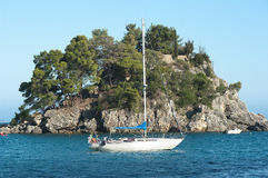 Sailboat And Cliff Royalty Free Stock Image