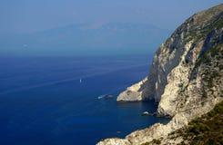 Sailboat and cliff, Zakynthos island Stock Photography