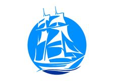 Sailboat club. Illustration of sailboat club logo design  on white background Royalty Free Stock Image