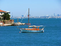 Sailboat by coast. Sailboat by the coast of Istanbul islands Stock Photo