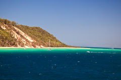 Sailboat on coast of Moreton Island Australia Stock Image
