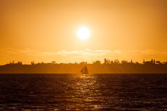 Sailboat. Color picture of a sailboat on the river at sunset Stock Images