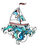 Sailboat. Colorful beautiful illustration with a sailboat Royalty Free Stock Image