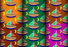 Sailboat colorful pattern Stock Images