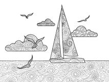 Sailboat coloring book for adults vector Stock Images